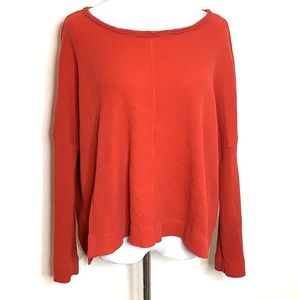 Anthropology Burnt Red Nori Waffle Knit Top
